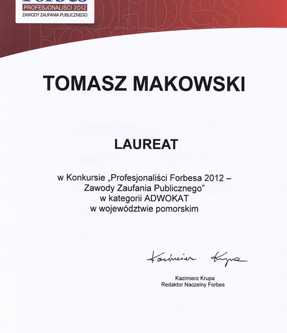 Dyplom adw. T. Makowski Forbes