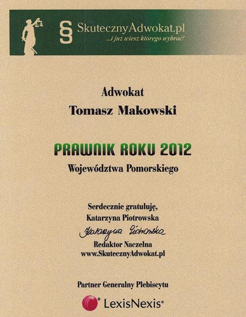 Dyplom adw. T. Makowski Prawnik-Roku-2012